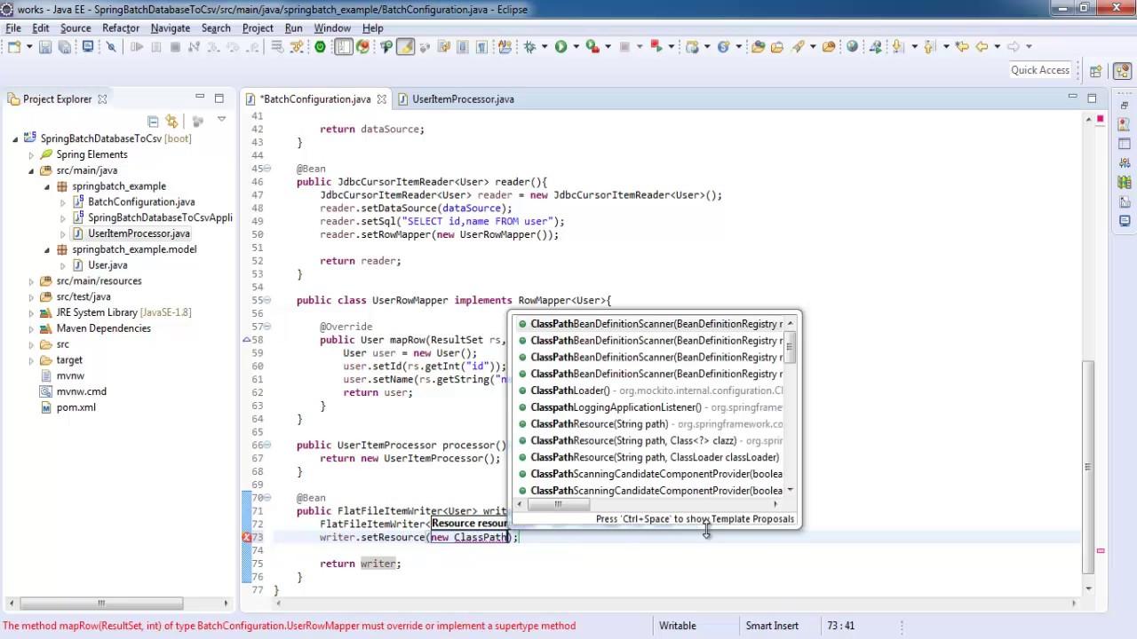 Spring boot batch mysql database to csv file spring batch tutorial spring boot batch mysql database to csv file spring batch tutorial for beginners baditri Choice Image