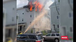Watch firefighters battle flames shooting out third-floor window in Worcester