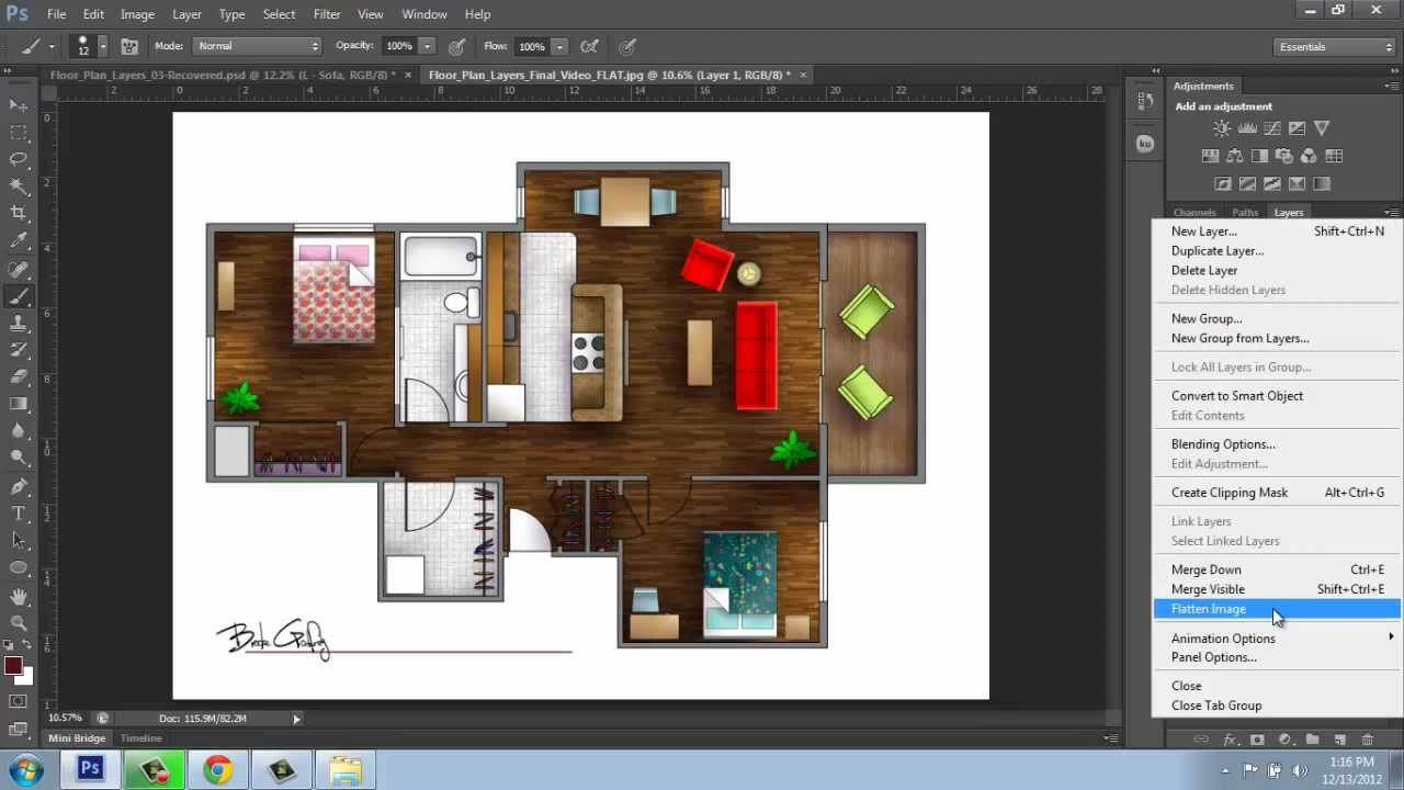Adobe Photoshop Cs6 Rendering A Floor Plan Part 6
