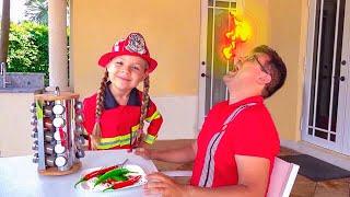 ديانا تتظاهر باللعب بأنها رجل إطفاء وتساعد والدها
