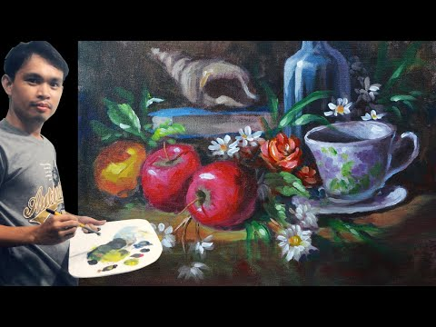 Still Life Painting with Apples and Coffee Mug Basic Impressionist Acrylic Tutorial by JM Lisondra