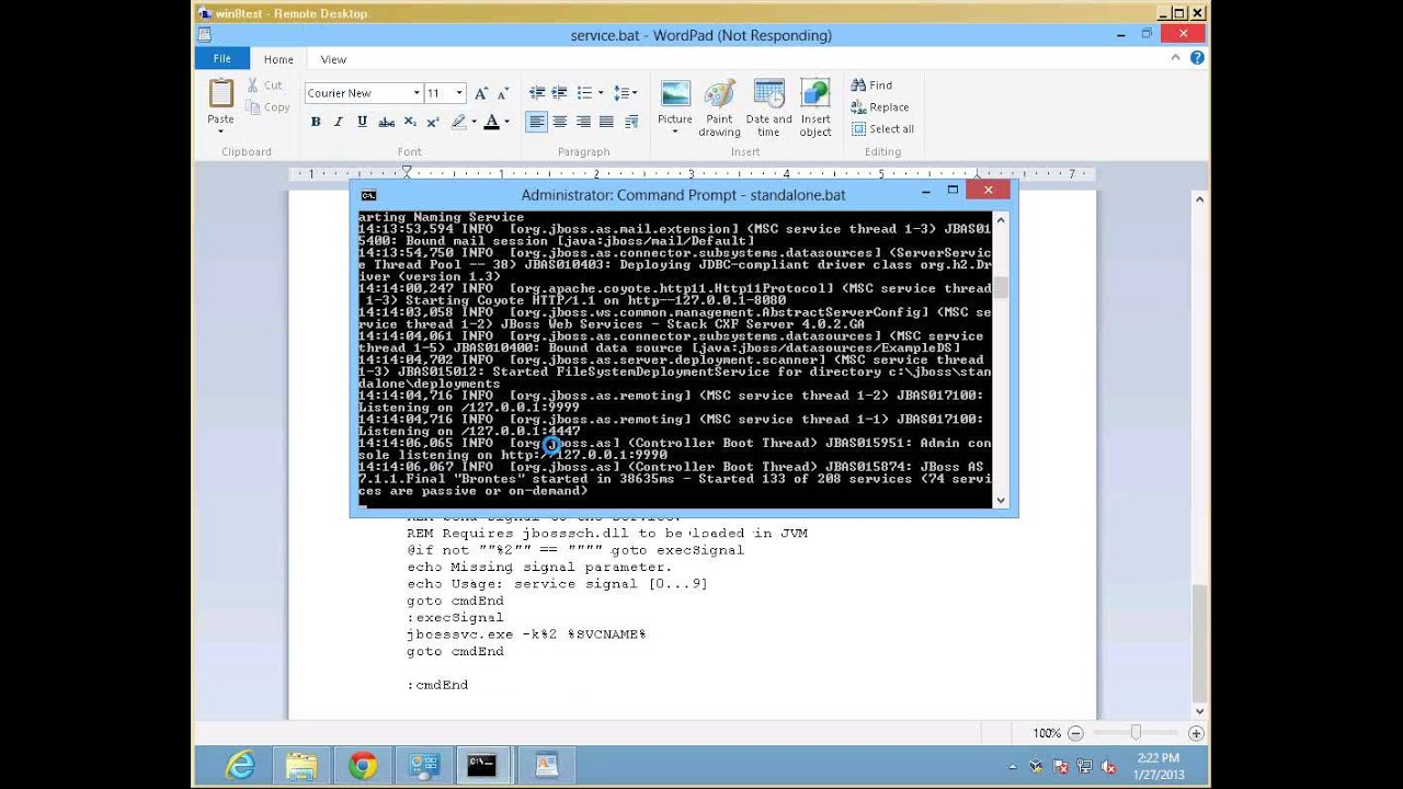JBOSS Application Server 7 1 1 on Windows 8