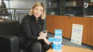 SVP demonstrate how to use 'cashless bucket' for donations