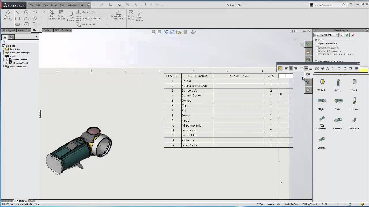 Solidworks saving bom template youtube for Waste material video