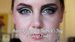 St. Patrick's Day or Mardi Gras Cut Crease Makeup Look | Feat. BH Cosmetics, Revlon, NYX, MUFE Thumbnail