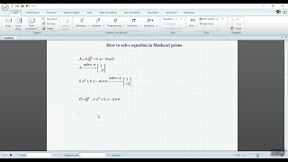 How to Solve equation By Mathcad prime 5 0