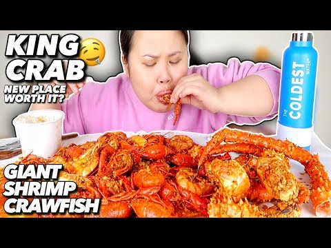 KING CRAB LEGS + SHRIMP + CRAWFISH SEAFOOD BOIL MUKBANG 먹방 EATING SHOW!