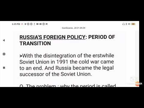 Russia's foreign policy: period of transition