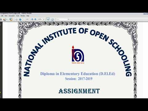NIOS D El Ed Assignment Cover Page Inner Page & Back Page Design