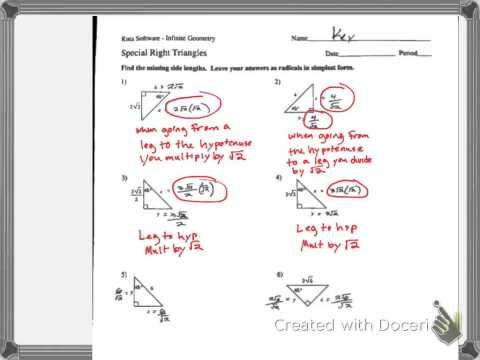 Worksheets Special Right Triangles Worksheet 30-60-90 Answers special right triangles multi step key p1 youtube