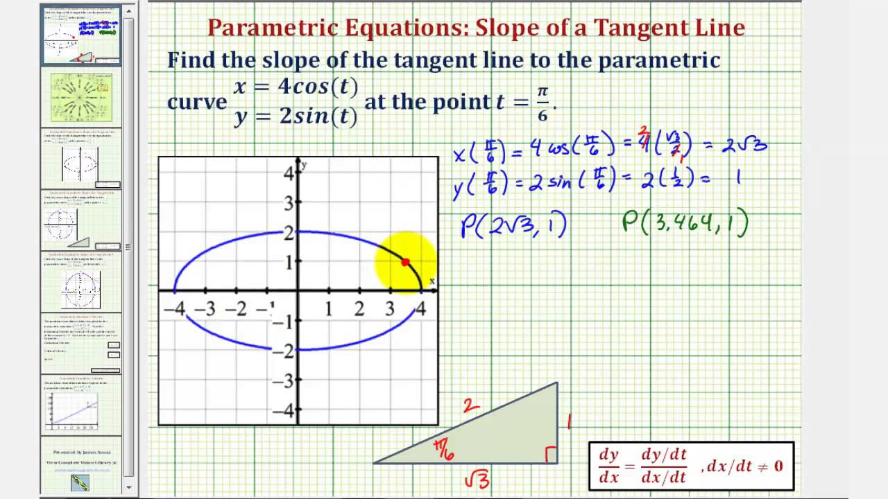 Ex 1: Find The Slope Of A Tangent Line To A Curve Given By Parametric  Equations