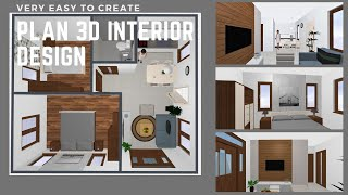 Very Easy To Create A Plan 3d Interior Design Home Plan 6x7m Full Plan 2beds