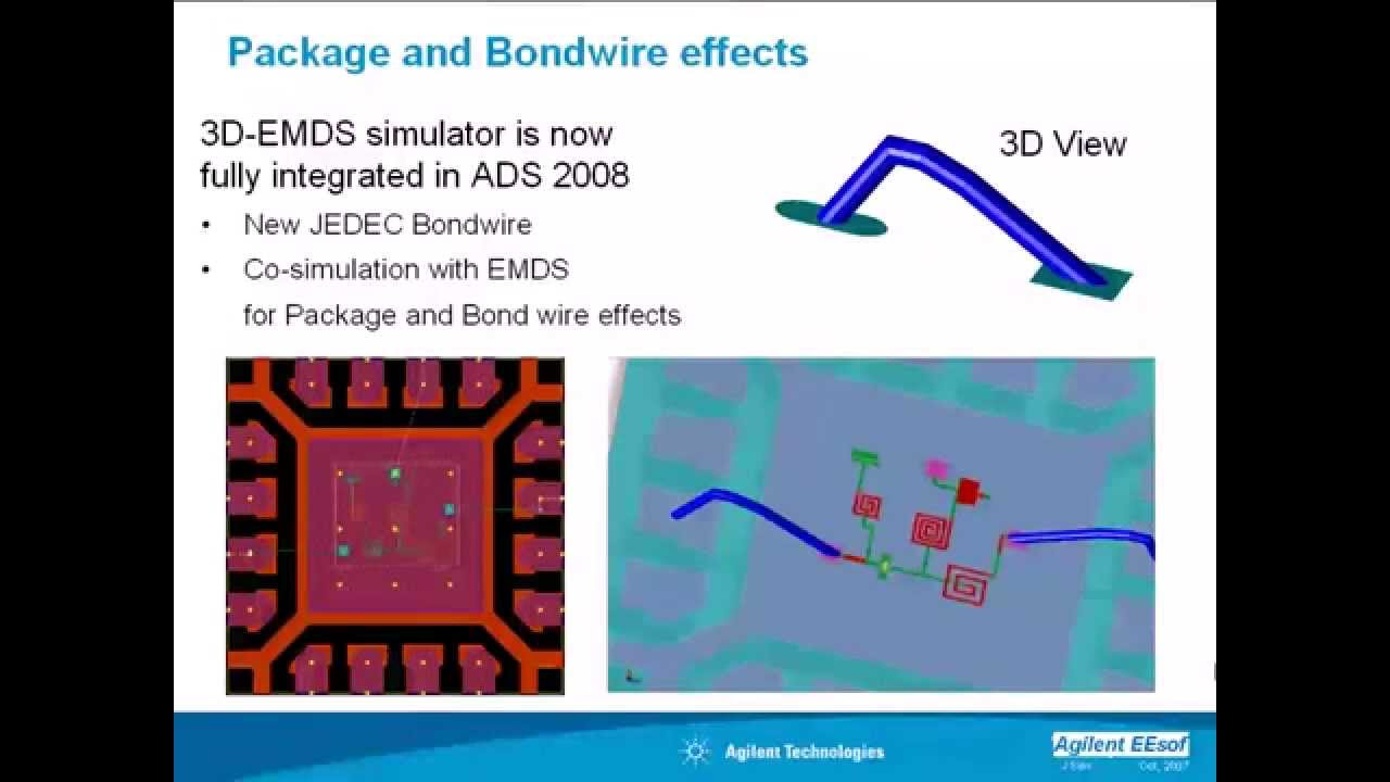 Package and Bondwire Effects in ADS With EMDS