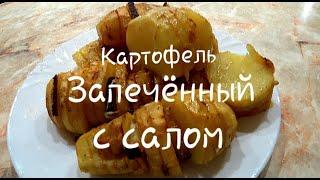 ПРОСТО, БЫСТРО и ВКУСНО- КАРТОФЕЛЬ запеченный с салом в духовке!Картошка ГАРМОШКА в исполнении сына.