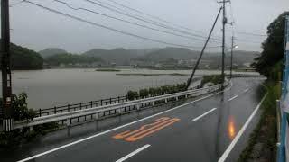 岡山豪雨 平島付近冠水? 「海鮮丼 魚しん」さんの所で足止め