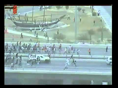 Armed Protesters blocked a main highway to Bahrain Financial Harbour