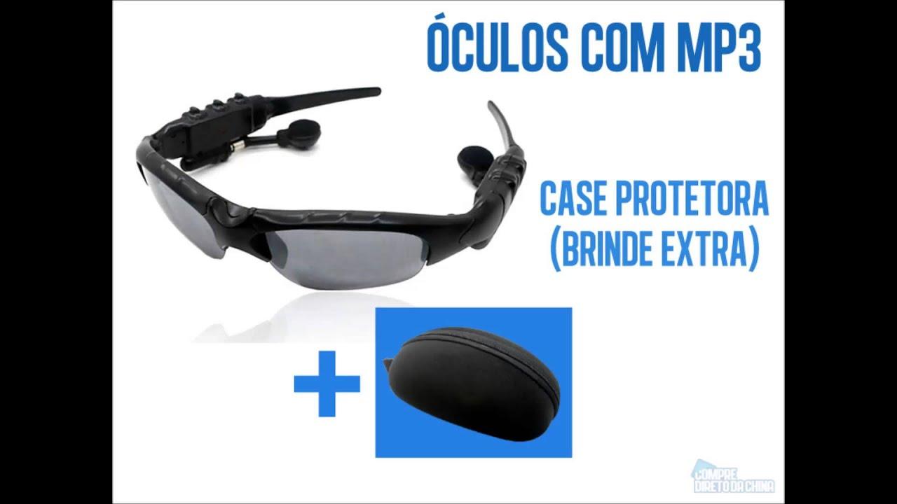 Óculos com MP3 Player e Fone de Ouvido Embutidos - YouTube 33f2eace34