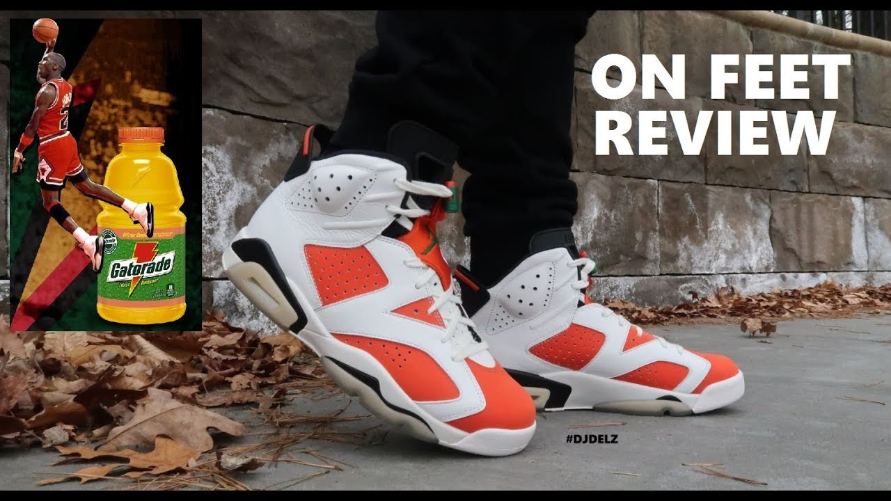 5186113b6555c4 Air Jordan 6 Gatorade  Be Like Mike  Retro VI Shoes On Feet Review ...