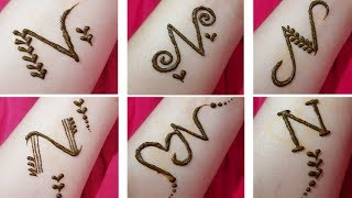 6 Stylish 'N' Letter Tattoo Mehndi Design | Alphabet 'N' Tattoo Mehndi Design | N Tattoo Mehndi