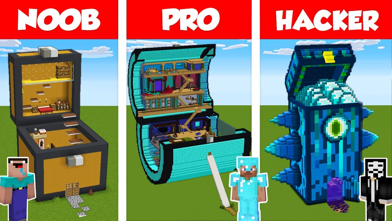 Minecraft NOOB vs PRO vs HACKER: CHEST HOUSE BUILD CHALLENGE in Minecraft / Animation