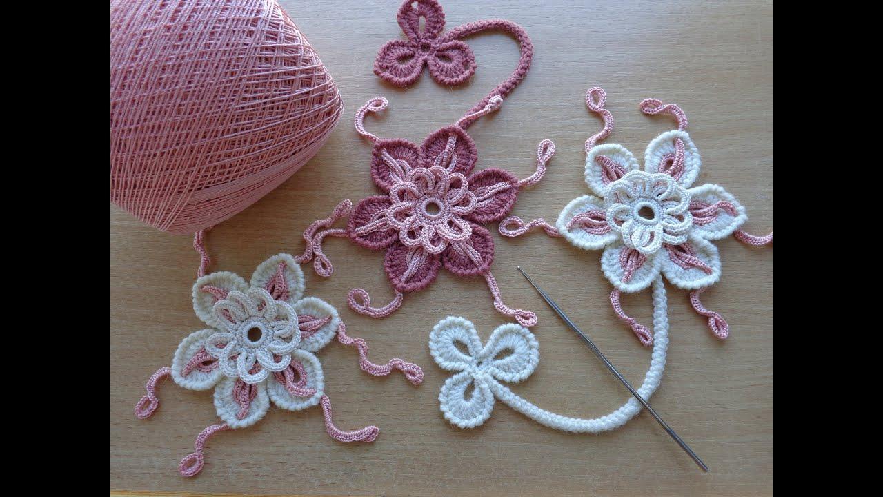 уроки вязания цветок крючком ирландское кружево Flower For