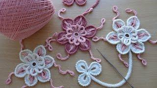 Уроки вязания - Цветок крючком - Ирландское кружево - Flower for Irish lace - How to crochet flower(Элемент ирландского кружева -ажурный, объёмный цветочек вязаный крючком.Вязание цветов крючком. Пошаговое..., 2014-09-19T19:09:50.000Z)