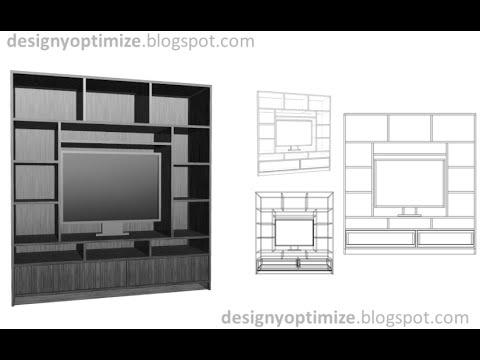 Planos construcci n centro de entreternimiento mueble - Mueble para television ...