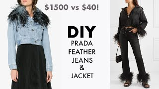 DIY: How To Make PRADA Feather Jeans for $40!! (Designer HACK) -By Orly Shani