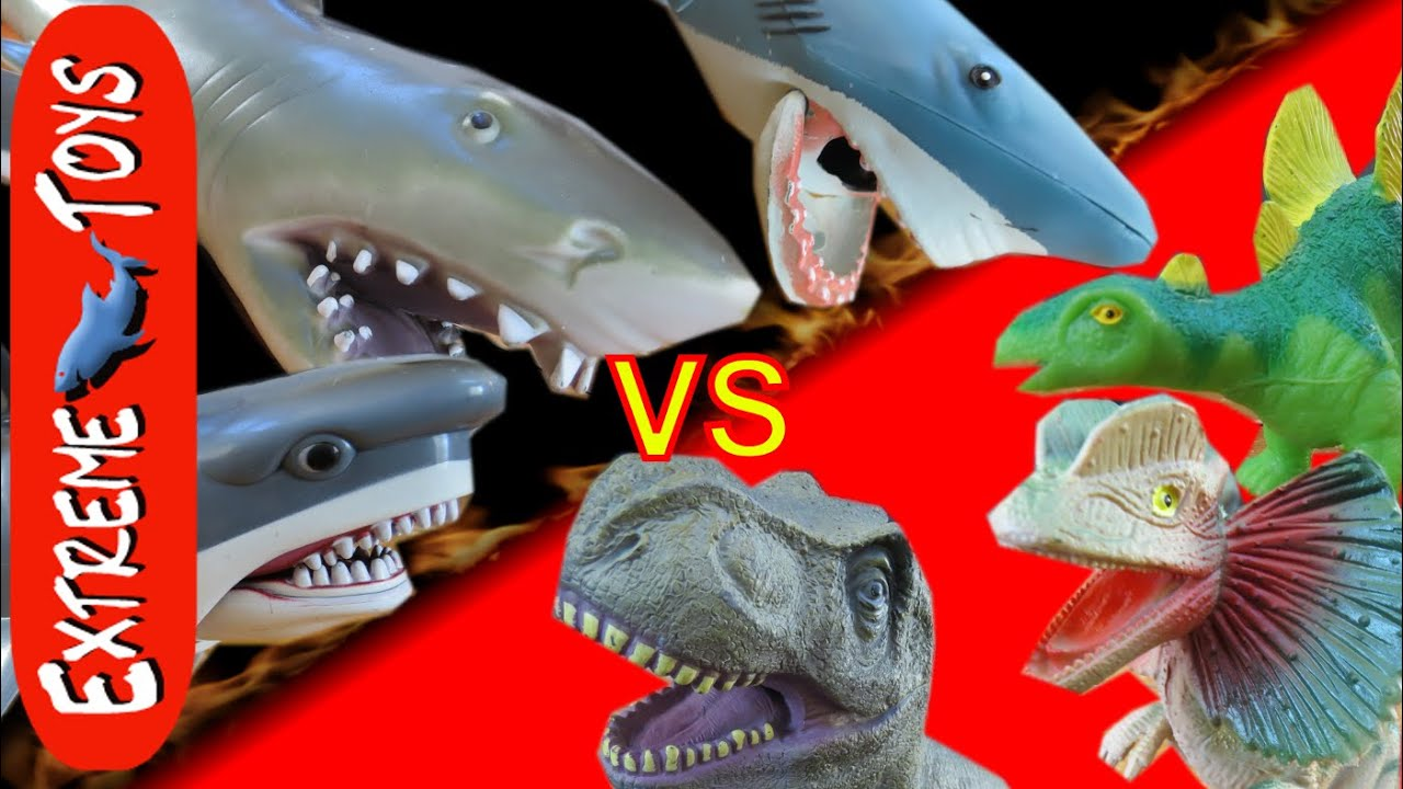 Shark Toys For Boys And Dinosaurs : Shark toys vs dinosaur round of dino s sharks