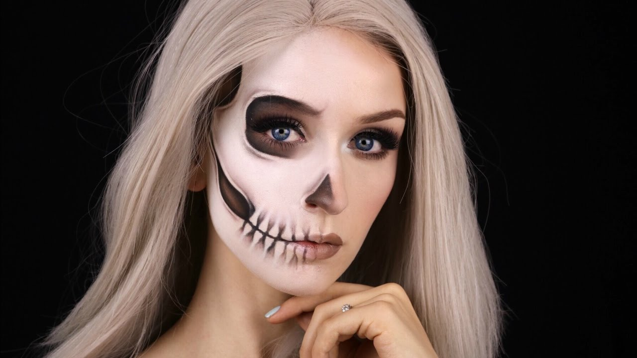 FADED HALF SKULL GLAM | Halloween Makeup Tutorial - YouTube