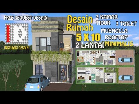 desain-rumah-5x10-2-lantai-dengan-musholla-|-#rumahrooftop-|-#rumahmusholla-|#rumah3kamartidur