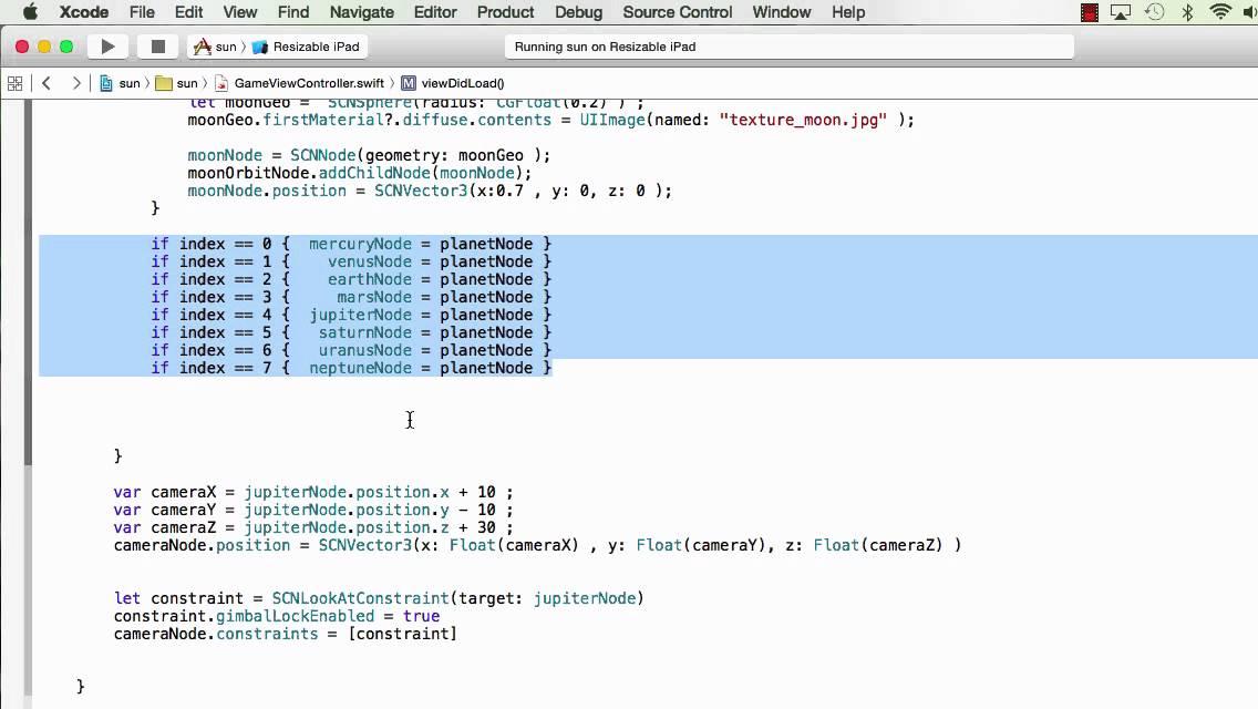 SceneKit: 3D SOLAR SYSTEM with 100 lines of code |08-20-2015
