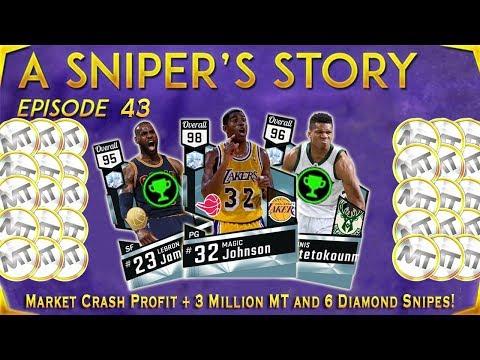 MARKET CRASH PROFIT + 3 MILLION MT AND WE GOT 6 DIAMONDS! NBA 2K17 A Sniper's Story Ep. 43