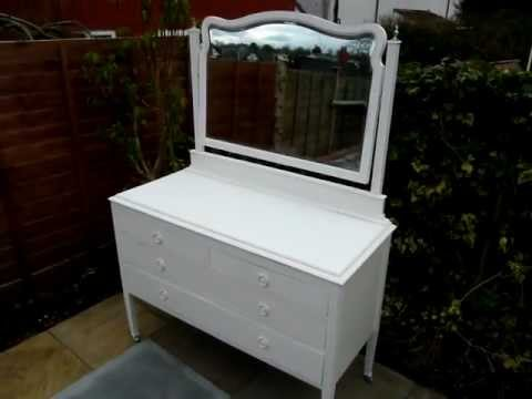 Large Dressing Table Antique Aged Cream White Painted Shabby Chic Furniture