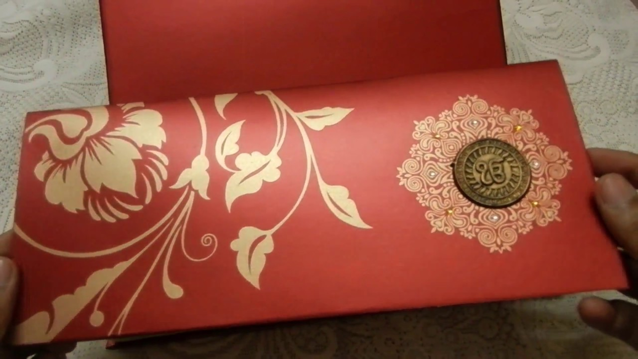 Beautiful Royal Red and Golden Floral Design Boxed Wedding ...