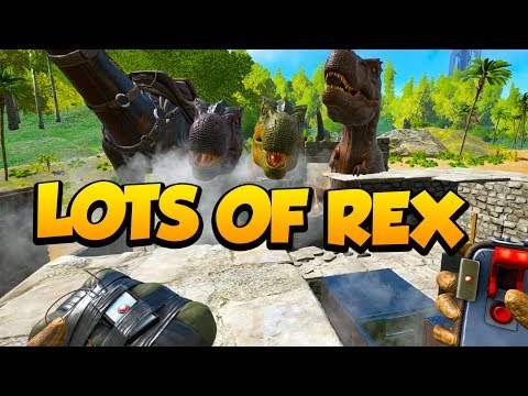 LOTS OF REXES IN THIS C4 RAID! - Ark Survival Evolved Island PVP #30