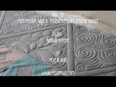 How To: Free-Motion Quilt a Feathered Swirl Triangle Border