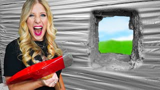 Escaping 100 Layers of Duct Tape vs Bubble Wrap! *trapped*