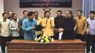 Lao NEWS on LNTV:DM of Public Works & Transport Dr Bounchanh Sinthavong becomes Minister. 24/3/2014
