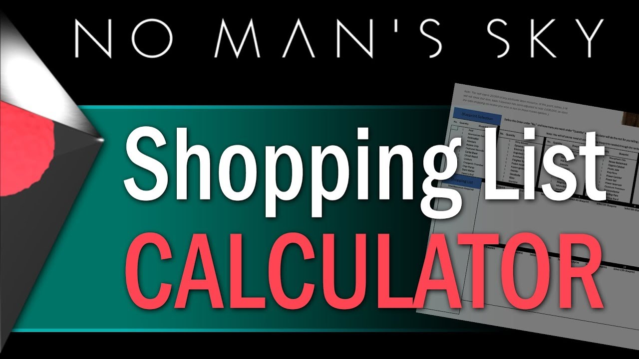 Nms shopping list crafting calculator for every blueprint youtube nms shopping list crafting calculator for every blueprint malvernweather Images