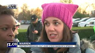 Protests breaking out over Steve Bannon's speech in metro Detroit