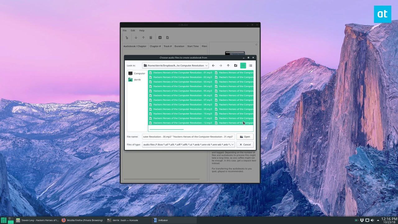 How to create audio books on Linux with M4Baker