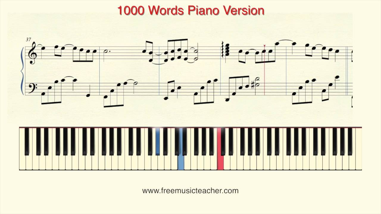 1000 words piano version youtube for Piano dance music 90 s