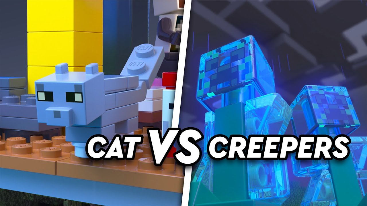 Cat vs creepers! An explosive LEGO Minecraft story.