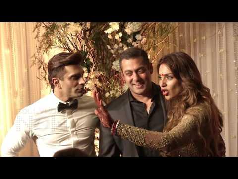 Salman Khan HUGS Karan Singh Grover Bipasha Basu At Wedding Reception
