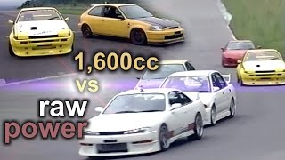 [ENG CC] Ultimate 1,600cc vs. raw power - Spoon EK9 + N2 AE86 vs. RX7, S14, EVO III at Ebisu HV29