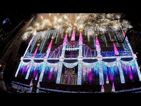 Saks 5th Avenue 2017 Holiday Windows Light Show Rockefeller Center New York City 2.7K GoPro