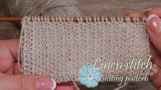 Узор «Лен» спицами 💮 Linen stitch knitting pattern