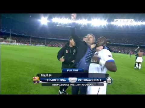 Jose Mourinho Celebration Barca-Inter 2-3 Agg.