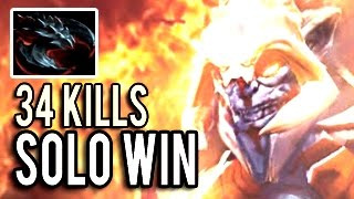 EPIC Huskar Carry Solo Win with 34 Kills & 86k Damage Insane 7.04 Dota 2